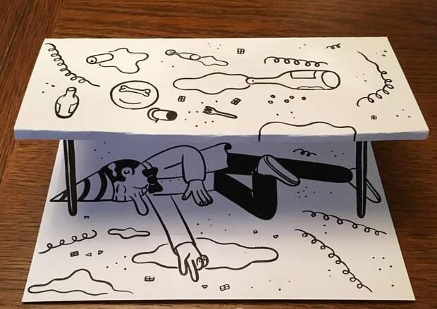 Эксперименты сбумагой: комичные 3D-рисунки датского художника