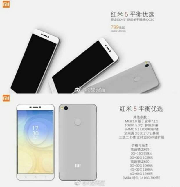 Опубликованы спецификации смартфона Xiaomi Redmi 5