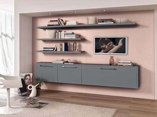 Розовый в сочетание с серым всегда выглядит элегантно, в данном случае, выбран пастельный, близкий к бежевому, оттенок. Мебель «Cucine Lube»