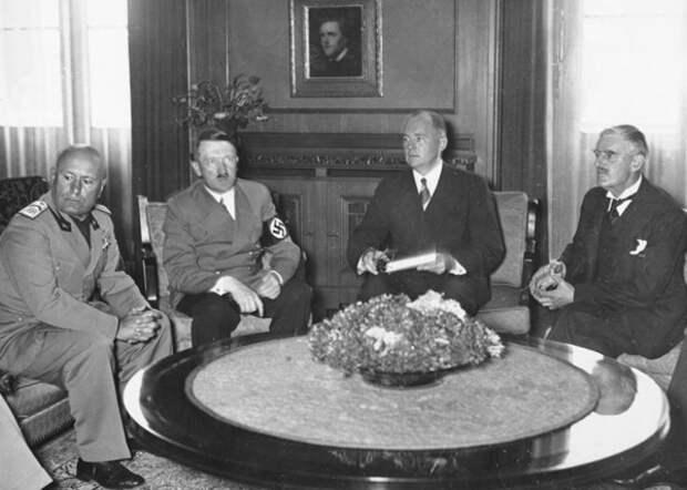 Mьnchener Abkommen, Mussolini, Hitler, Chamberlain
