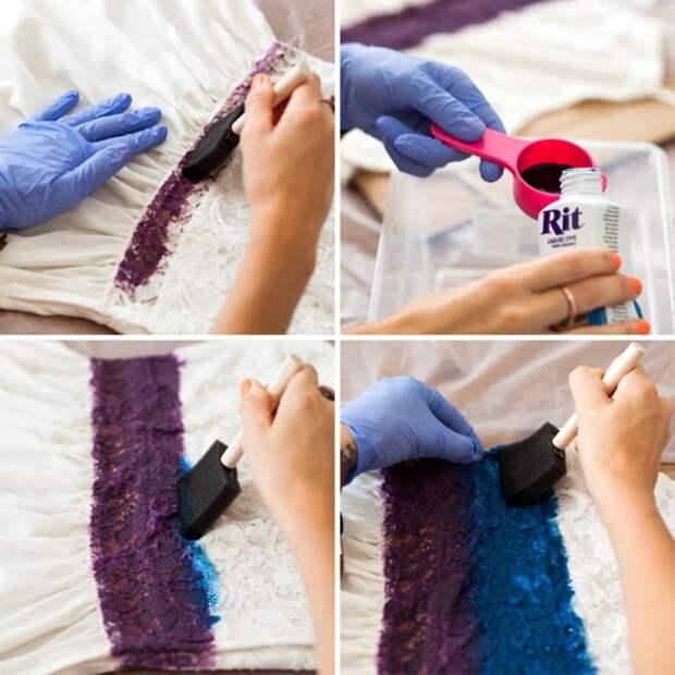Превращаем простое белое платье в кружевное омбре с помощью краски