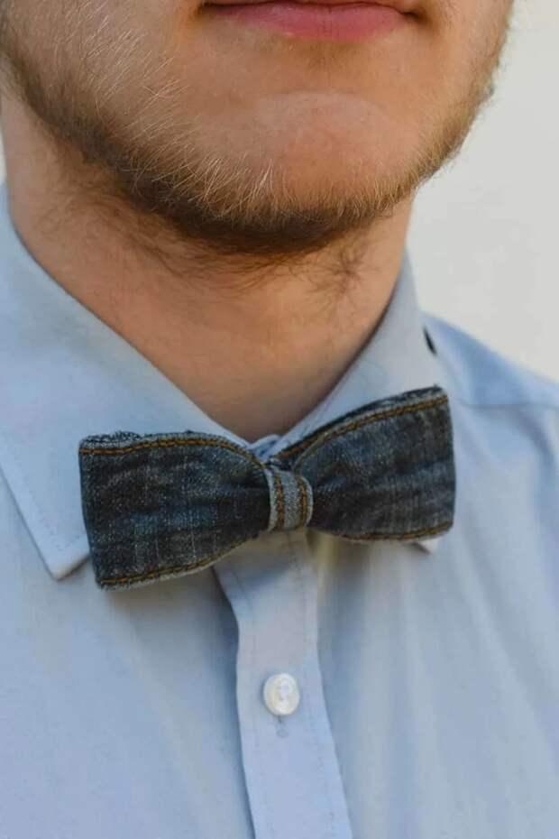 Необычный галстук бабочка своими руками джинсовый (diy)