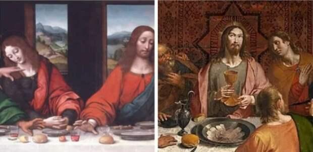 У каждого апостола есть индивидуальный бокал вина вместо того, чтобы делиться чашей. \ Фото: pinterest.com.