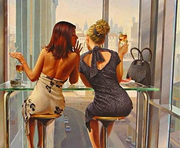 Две женщины сидели за столом