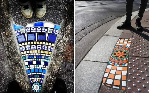 Художник из Франции превращает ямы на дорогах в искусство с помощью мозаики
