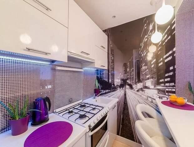 9. Также можно использовать фотообои, чтобы визуально скрыть недостатки помещения, исказив его размер дизайн, идеи дизайна, интерьер, кухня, маленькая кухня