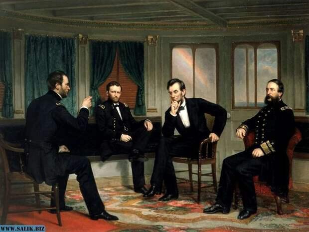 Американский президент Авраам Линкольн (на картине — второй справа) в биографии которого учёные обнаружили слишком много совпадений с фактами из жизни Джона Кеннеди, чтобы их можно было бы посчитать случайностью.