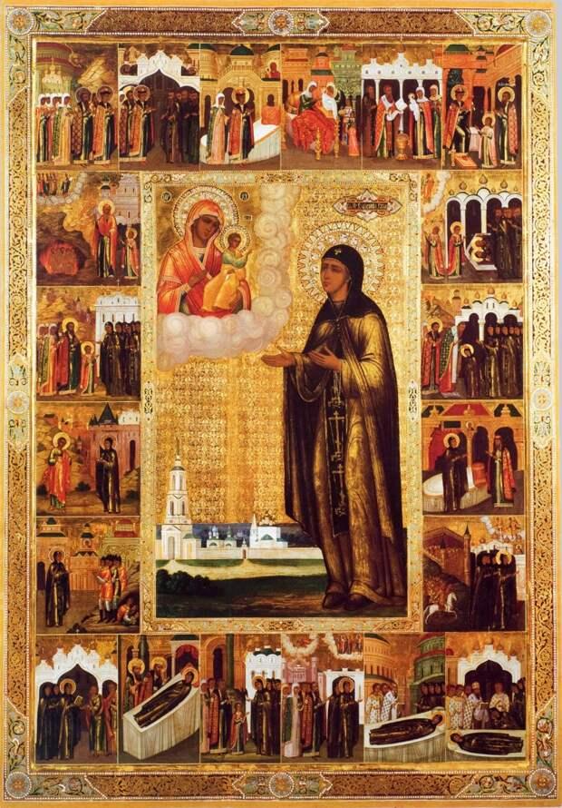 Преподобная Евфросиния Суздальская с 20 клеймами жития. Икона, последняя четверть XIX века