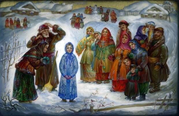 Русская зима. Федоскинская лаковая миниатюра.