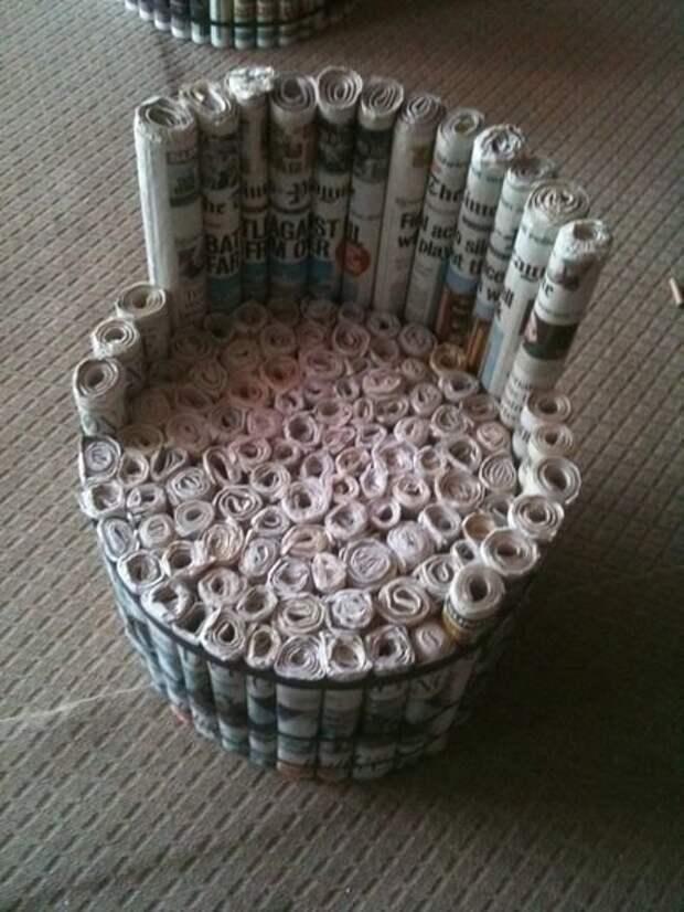 12. Такой стул даже массажным назвать можно газеты, идеи, макулатура, на все руки мастер, поделки, своими руками