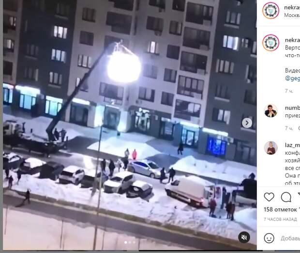 Машины полиции и скорой помощи стали декорациями для съемок на Вертолетчиков
