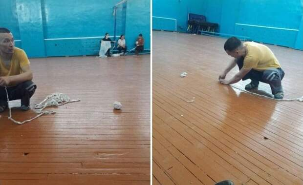 Учителя заделывали дыры в спортзале после капремонта в школе в Атырау
