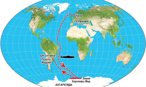 Глава Третьего рейха вышел на подлодке из Киля. Пару лет скрывался в Антарктиде, а потом высадился в Пуэрто-Мадрине и «растворился» в Аргентине