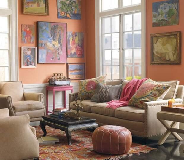 с чем сочетать персиковый цвет в интерьере
