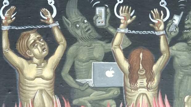Интернет-зависимость стала новым грехом на фресках монастыря под Тверью