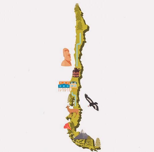 Карта Чили - самой длинной страны с севера на юг
