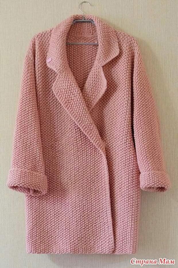 Вязаное на спицах пальто оверсайз (diy)