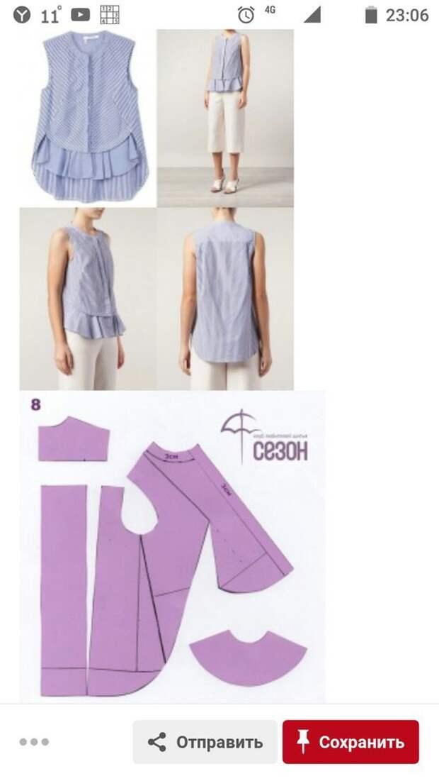 Блуза со швами вперёд (выкройки)
