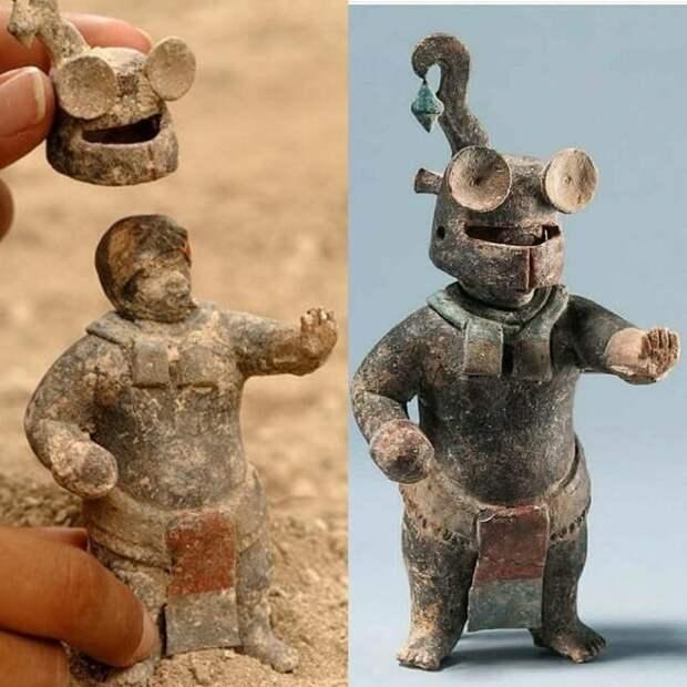 1500-летняя керамическая статуэтка Майя со съемным шлемом, из Эль-Перу-Вака, Петен, Гватемала