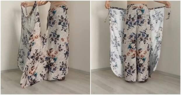 Необычные брюки без выкройки: просто отрежьте два угла ткани