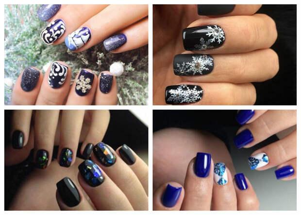 Новогодний маникюр 2017: фото с идеями дизайна ногтей на год Петуха со снежинками