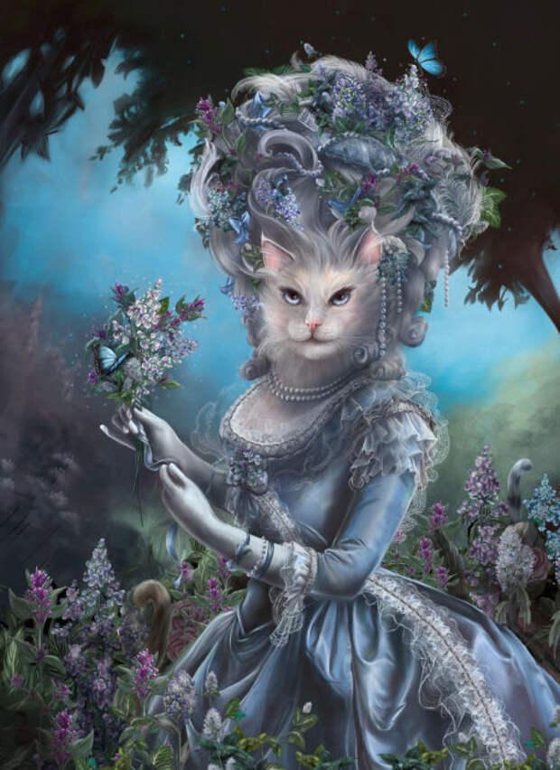Кошка в образе французской королевы, прогуливается по парку.