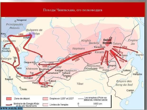 Карта походов Чингисхана и его полководцев - сравните с маршрутом Шелкового Пути.