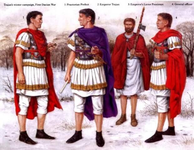 Зимняя кампания Траяна на Нижнем Дунае (первая дакийская война): 1 - префект преторианцев; 2 - Император Траян; 3 - императорский ликтор; 4 - старший офицер