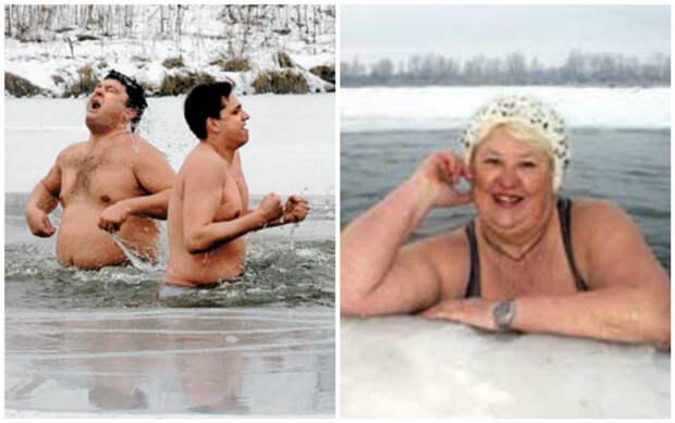 """А это уже опытные """"моржи"""" зимние купания, интересно, моржи, эмоции"""