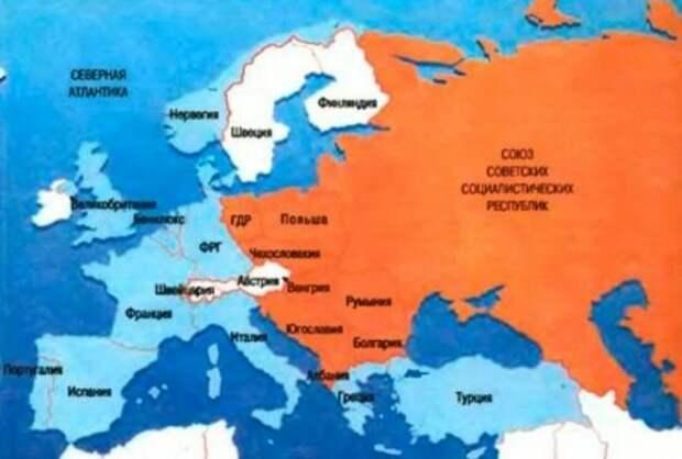 Западная Европа и СЭВ во времена СССР. По карте можно легко увидеть, насколько близко мощнейшая советская промышленность разместилась к границам ЕЭС