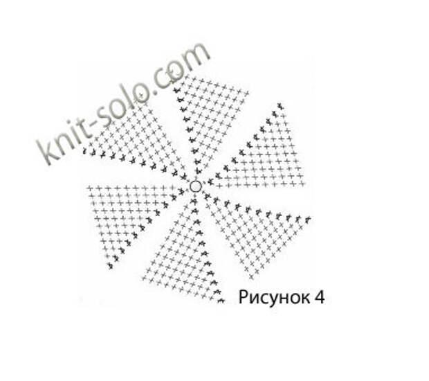 Плоский круг крючком столбиками без накида