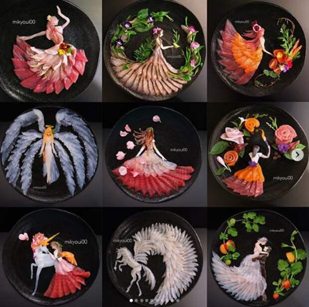 сашими картины из еды сырой рыбы