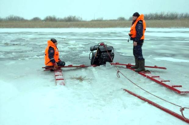 Снегоход провалился под лед на реке в Удмуртии