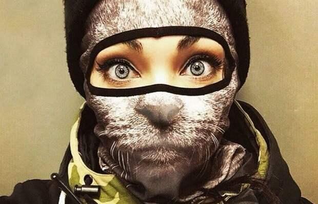 Зимний прикол: звериная лыжная маска.