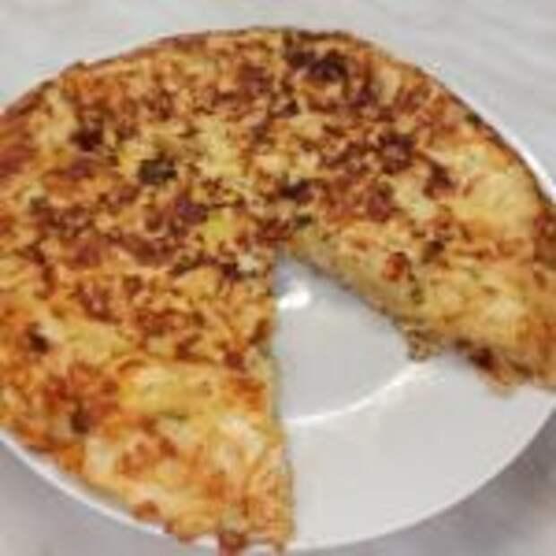 Ленивый пирог из лаваша с курицей и сыром