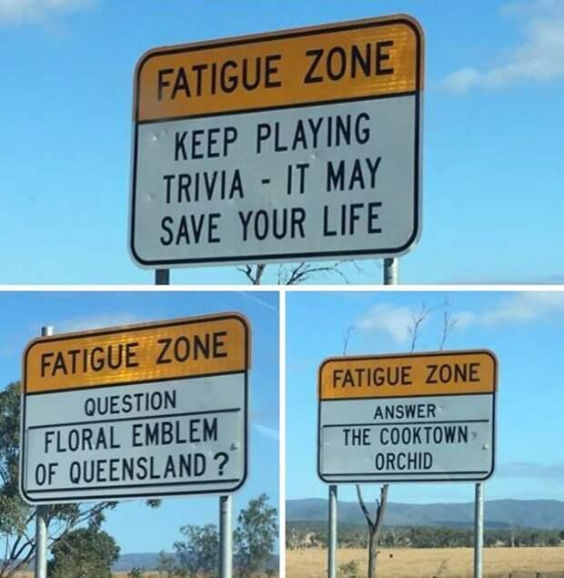 На длинных австралийских шоссе стоят таблички с вопросами и ответами. Эта дорожная викторина помогает взбодриться и не уснуть за рулем идеи, необычно, нестандартно, нестандартные идеи, оригинально, оригинальные решения, проблемы, решения