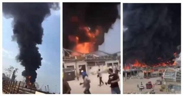 Новая напасть в Бейруте: сильнейший пожар разгорелся во взорванном порту (3 фото + 2 видео)