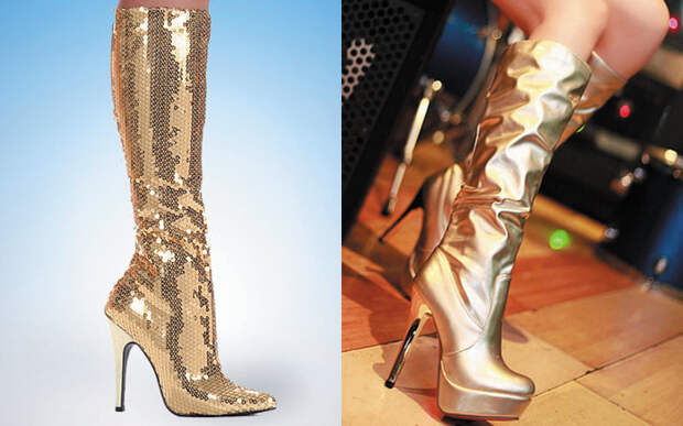 Модные золотые сапоги