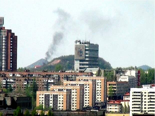 Дымящийся террикон в Донецке
