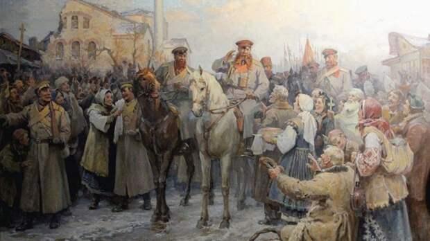 Встреча генерала Гурко в Софии 23 декабря 1877 г. (4 января 1878 г.). Художник Димитр Гюдженов