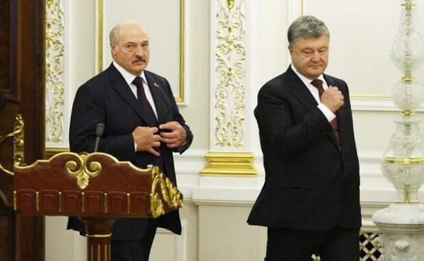 На фото: президент Белоруссии Александр Лукашенко и президент Украины Петр Порошенко (слева направо)