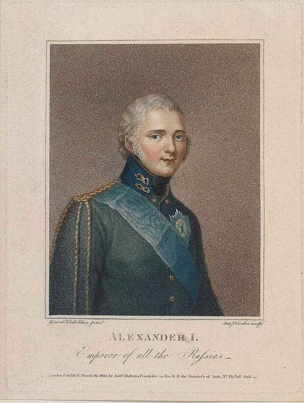 Alexander I of Russia, engraving after a painting by Gerard Küchelchen, March 1804.jpg