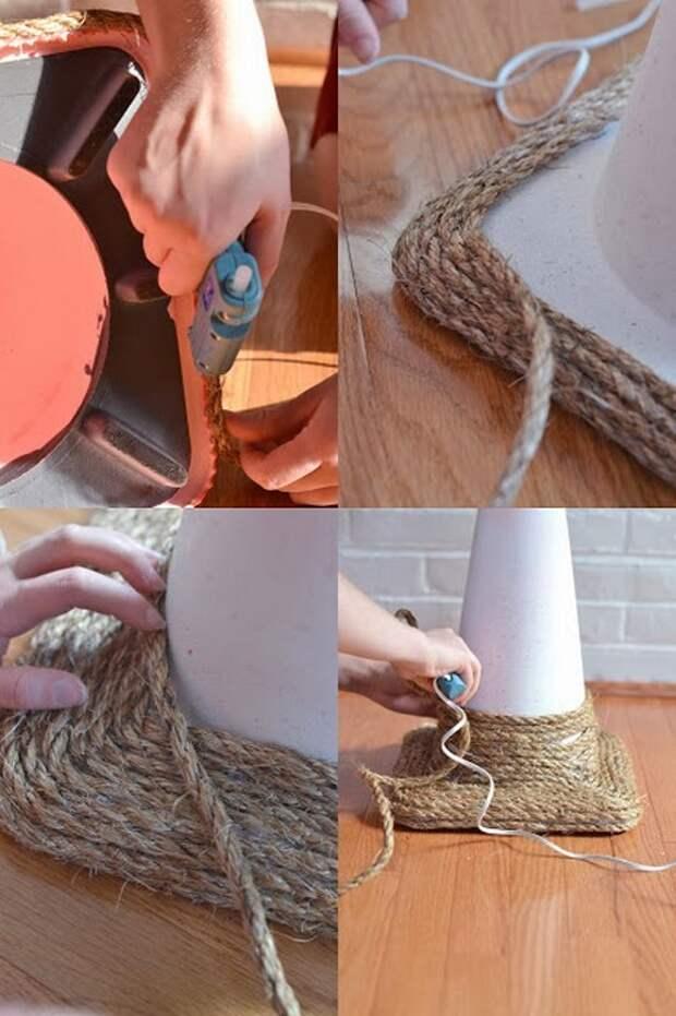 Шаг 2: начиная с подставки, наматывайте на конус бечёвку. Каждый слой обрабатывайте клеем.   когтеточка, конус, коробка, кот