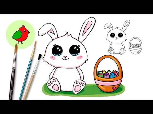 Как нарисовать Пасхального зайца, зайчика, кролика просто l Рисунки на П...