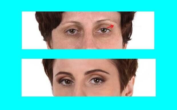 Такой прием визуально приподнимает внешние уголки глаз, тем самым глаза выглядят моложе