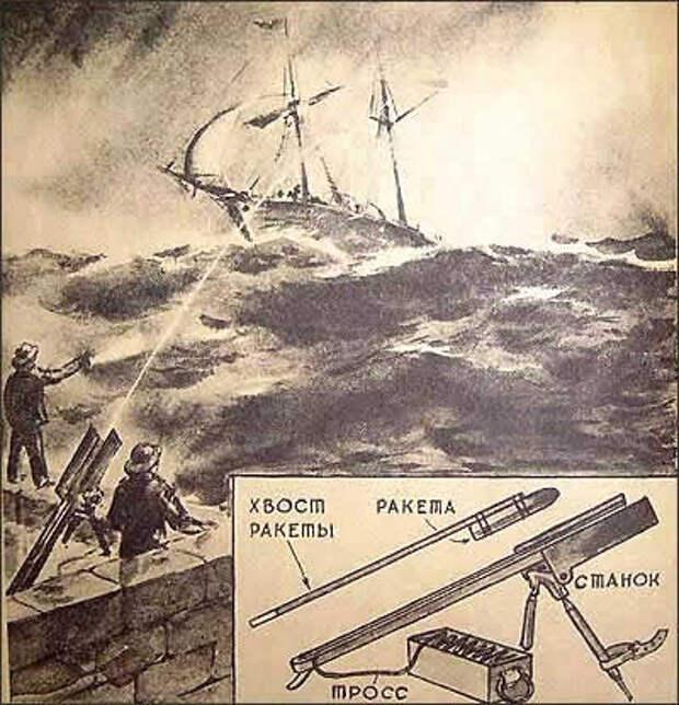 Спасательные станции, оборудованные спасательными ракетами для  переброски на тонущий корабль троса