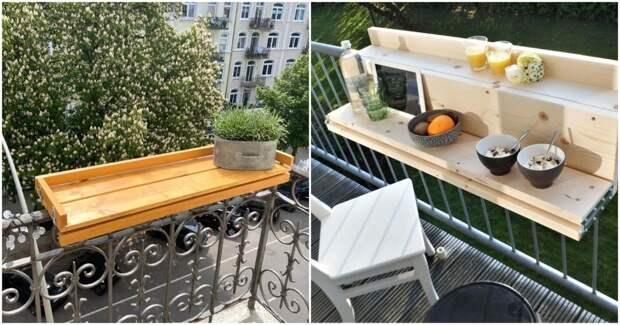 Подвесные балконные столики: 22 удивительных варианта для крохотных балконов