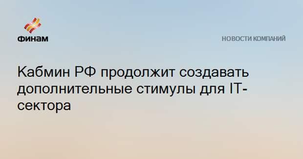 Кабмин РФ продолжит создавать дополнительные стимулы для IT-сектора