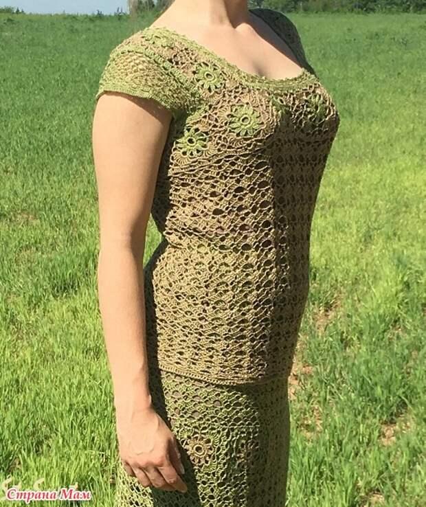 Длинная летняя ажурная юбка крючком