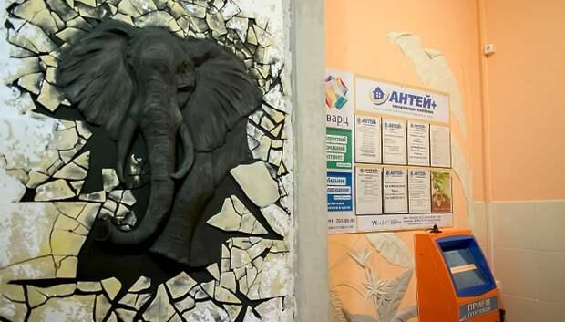 Декоратор украсила подъезд дома в Подольске 3D рисунком слона